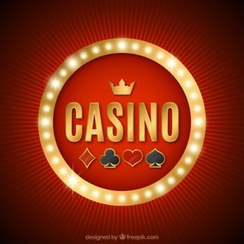 Ordet casino med ruter, klöver, hjärter och spader